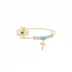 Golden safety pin with cross and stones K14 unisex 20487
