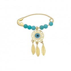 Gold bolt K14 with enamel and stones feathers LIFE 15189 koumian