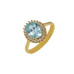 Gold rosette ring with aqua marine and white zircon Italian design 023423
