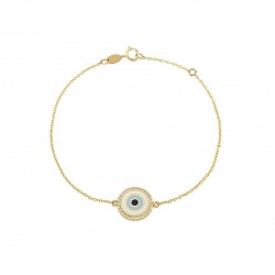 Gold eye bracelet K14 with zircon stones and mother of pearl BP19237