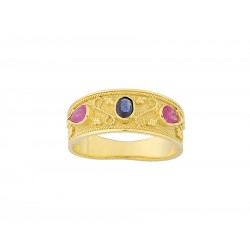 GOLD BYZANTINE HANDMADE RING WITH RUBIS STONES AND SAPHIRE K14 18027