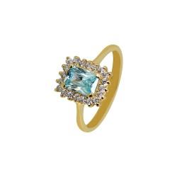 GOLD ROSETTE RING WITH RECTANGULAR AQUA MARINE AND WHITE ZIRCONIA ITALIAN DESIGN 23342