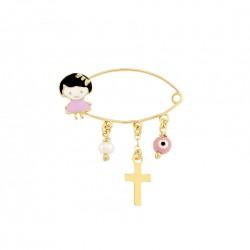 Golden nanny with eye and cross K14 little girl 13786 koumian
