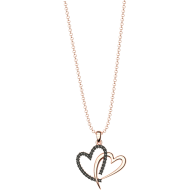 Sterling silver rose gold double heart necklace with black crystals SWAROVSKI sw3