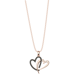 Sterling silver rose gold double heart necklace with black crystals sw3