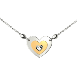 SILVER HEART NECKLACE TWO COLOR WITH WHITE CRYSTAL SWAROVSKI H5610