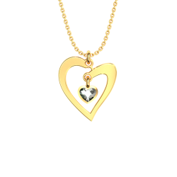 Silver plated heart necklace with white  sw5
