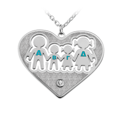 Family in heart with interior. engraving - letters with enamel AND zircon