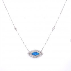 SILVER 925 EYE NECKLACE WITH OPAL AND WHITE ZIRCON ITALIAN DESIGN KΟUMIAN ZN1764W