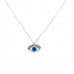 SILVER 925 EYE NECKLACE WITH MEASURE AND WHITE ZIRCON ZN1768W KΟUMIAN