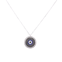SILVER 925 EYE NECKLACE WITH MEASURE AND WHITE ZIRGON ZN1770W