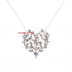 HEART NECKLACE SILVER 925 GOLD WITH ROSE GOLD AND ZIRCON STONES STRAINTORS ZN720R