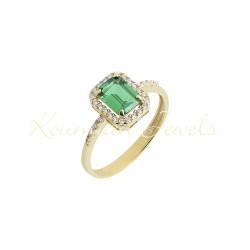 Gold ring 14k  rozete with zirgkon FA0014