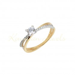 SINGLE STONE 14 RING RING WHITE GOLD DESIGN X WITH YELLOW GOLD AND AUSTRIAN ZIRCON D046