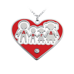 Family in heart with red turquoise enamel
