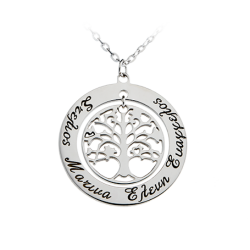 SILVER Wreath with Tree & Engraved Names
