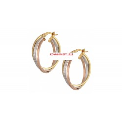 EARINGS GOLD PINK AND WHITE GOLD 14K KNITTED POLISHED ITALIAN DESIGN KR6065