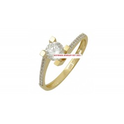 14k gold ring WITH WHITE ZIRCONIA FLAME WITH SIDE D6317