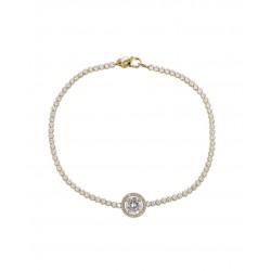 GOLD Bracelet K14 Rosette Riviera Zircon 12086