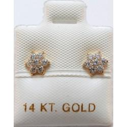 EARRINGS GOLD 14 KARAT NAILS ROSETTE ITALIAN DESIGN ER186 KOUMAN JEWELERY