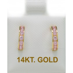 14ct Gold Earrings SEMI-SMALL WITH PINK ZIRCON ER2479
