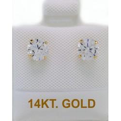EARRINGS  GOLD NAILS 14 KARAT DIAMETER 5mm ZIRCON ER2612
