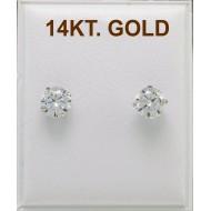 EARRINGS WHITE GOLD NAILS 14 KARAT DIAMETER 5mm ZIRCON ER2632