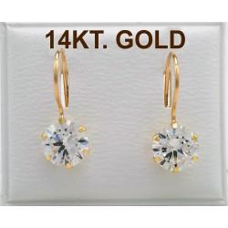 14ct GOLD EARRINGS WITH HOOM 7mm ZIRCON LONG CLOCK ER3033