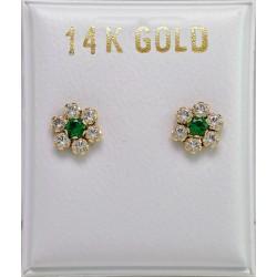 14 GOLD GOLD EARRINGS ROSETS OF ITALIAN DESIGN WITH ZIRCON AND LONDON GREEN TOPAZE ER3357 KOYMIAN