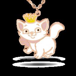 Silver Pendant Necklace with Enamel Cat M30.2