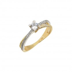 Single Stone Ring 14K Gold With White Gold Italian Design With Austrian Zirconia D048