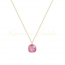 14K GOLD NECKLACE WITH LONDON PINK TOPAZE WITH CHAIN K063