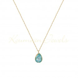 14K GOLD NECKLACE WITH LONDON blueTOPAZE WITH CHAIN handmade K064