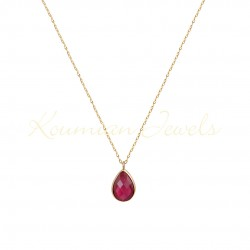 14K GOLD NECKLACE WITH LONDON RED TOPAZE WITH CHAIN handmade K065