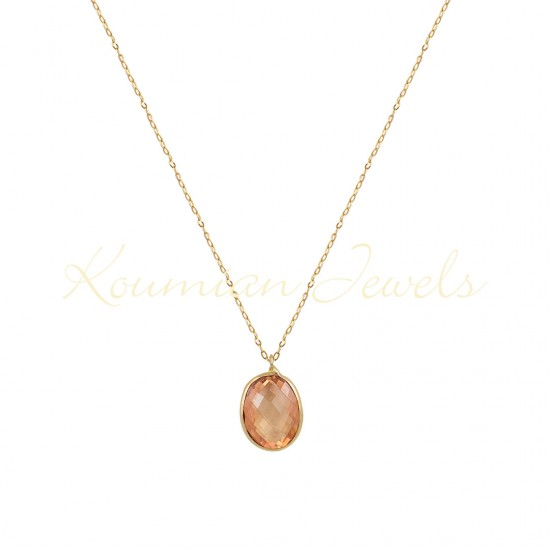 14K GOLD NECKLACE WITH LONDON ORANGE TOPAZE WITH CHAIN handmade K066