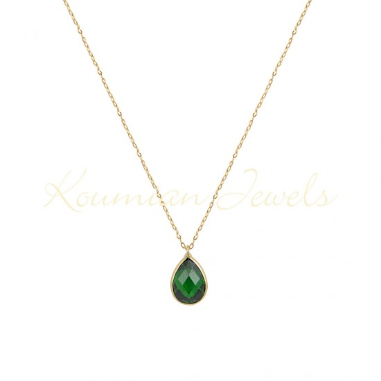 14K GOLD NECKLACE WITH LONDON GREEN TOPAZE WITH CHAIN handmade K067