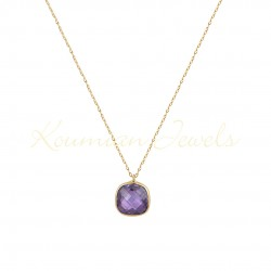 14K GOLD NECKLACE WITH LONDON AMETHIST TOPAZE WITH CHAIN handmade K068