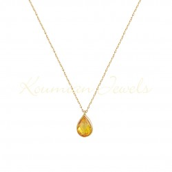 14K GOLD NECKLACE DROP WITH LONDON CITRINE TOPAZE WITH CHAIN handmade K069