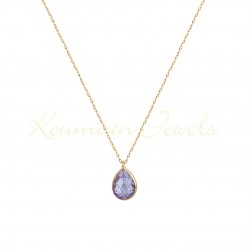NECKLACE GOLD DROP 14K WITH LONDON AMETHIST TOPAZE WITH CHAIN handmade K070