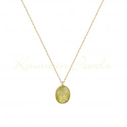 14K GOLD NECKLACE WITH LONDON TOPAZE WITH CHAIN handmade K072
