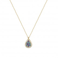 14K GOLD NECKLACE WITH LONDON TOPAZE WITH CHAIN handmade K073