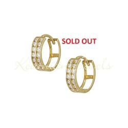 EARRINGS CROWN GOLD K 14 WITH WHITE ZIRCON ITALIAN DESIGN ER960