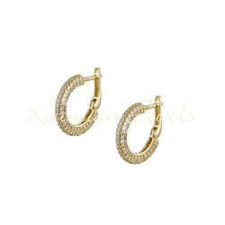 EARRINGS 14K GOLD RINGS DECORATED WITH WHITE ZIRCON SK084 K0UMIAN