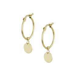 EARRINGS 14K GOLD RINGS WITH CIRCLE END SK088