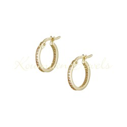 EARRINGS 14K GOLD RINGS WITH WHITE ZIRCON INTERIOR ΣΚ092