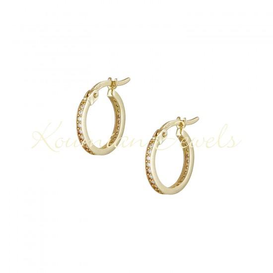 EARRINGS 14K GOLD RINGS WITH WHITE ZIRCON INTERIOR ΣΚ092