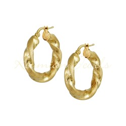 EARRINGS GOLD RINGS 14K SATINE POLISH ΣΚ103 ITALIAN DESIGN KΟUMIAN