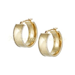EARRINGS 14K GOLD RINGS DECORATED WITH SATINE WHITE GOLD ITALIAN DESIGN SK111