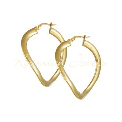 EARRINGS gold rings 14 carats shiny WAVE DESIGN ΣΚ124
