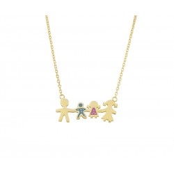 GOLD NECKLACE K14 FAMILY WITH ENAMEL K4 HANDMADE KΟUMIAN Κ4